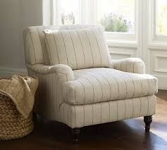 pottery barn chair and a half slipcover carlisle upholstered armchair potterybarn striped chair in pottery