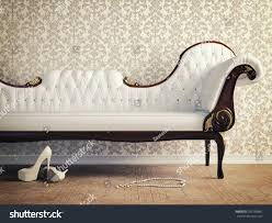 vintage sofa wallpaper wall retrostyle illustration stock