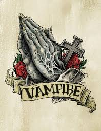 vampire praying hands with a cross and a big banner tattoo design
