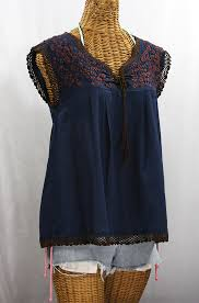 navy blue blouse la marbrisa sleeveless blouse navy blue brown