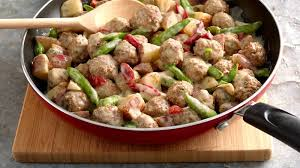 creamy meatball and garden vegetable skillet recipe pillsbury com