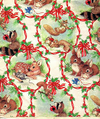 squirrel wrapping paper vintage christmas wrapping paper squirrel bunny mouse racoon