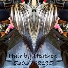platinum blonde and dark brown highlights awesome dark brown with chunky platinum highlights hair by heather