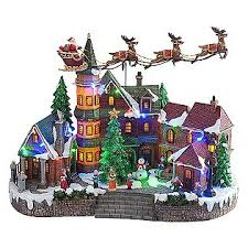 light up xmas pictures animated light up christmas village scene up down flying santa