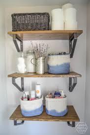 diy dip dye cloth baskets and open shelving for bathroom