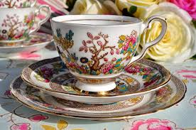 royal stafford indian tree vintage china teacup trio