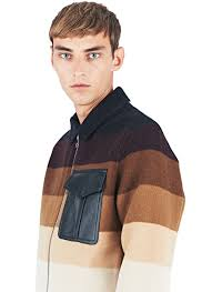 Wool Bomber Jacket Mens J W Anderson Striped Wool Bomber Jacket In Brown For Men Lyst