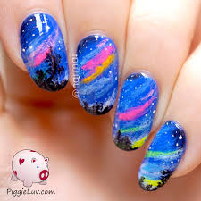 piggieluv colorful glow in the dark northern lights nail art