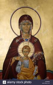 virgin mary and child jesus christ decoration old church greece