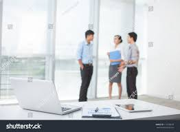 Office Desk Close Up Closeup Workplace Modern Office Business People Stock Photo