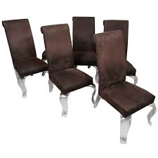 set of six dining chairs with sculptural lucite legs at 1stdibs