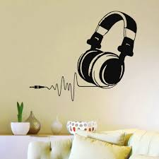 popular dj wall decals buy cheap dj wall decals lots from china dj 2016 hot vinyl wall decals dj headphones audio music pulse sign decal art mural os1500 free