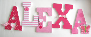 Nursery Wall Decor Letters Custom Wooden Letters Pink Butterfly Theme Nursery Bedroom Home