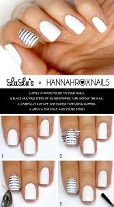 mani monday white and silver striped accent nail mani tutorial