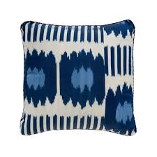 blue collins ikat pillow madeline weinrib