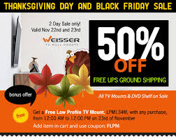 weisser tv wall mounts announces thanksgiving day and black friday