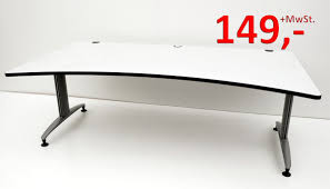 B Obedarf Schreibtisch Schreibtisch 200 Cm Cockpitform Weißgrau Schärf