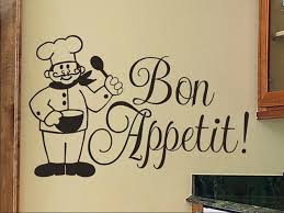 Kitchen Wall Decal Bon Appetit with Chef Kitchen Wall Art Vinyl