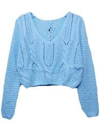 light blue cable knit sweater eyelet cable knit lace up crop sweater light blue prettyguide
