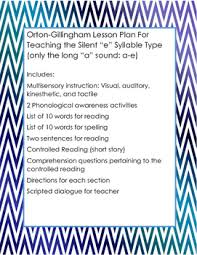 multisensory lesson plan for teaching the silent u201ce u201d syllable tpt