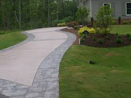 Pictures Of Stamped Concrete Walkways by Concrete Stamped Border Driveway With Broom Finish Interior