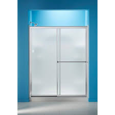 door with frosted glass sterling 59 3 8 in x 70 1 4 in framed sliding shower door in
