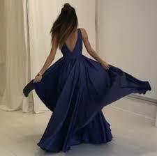 a line deep v neck long dark blue taffeta prom dress with pleats
