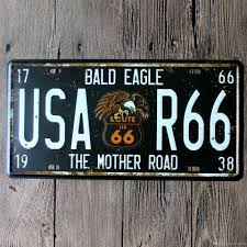 Route 66 Home Decor License Plate Car Number Garage Poster Route Us 66 Metal Tin Signs