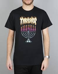 hanukkah shirts thrasher menorah t shirt black skate t shirts mens