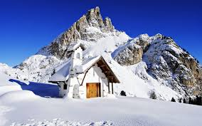 Winter House Snow Mountains House Sky Blue Sunny Landscapes Nature Winter High