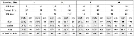 size chart for wedding dresses size chart