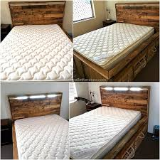 Headboards Made With Pallets Recycled Pallets Bed With Headboard Light Wood Pallet Furniture