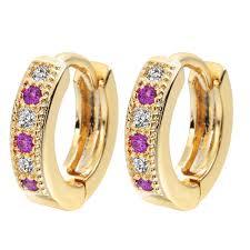s baby earrings qiamni colorful classic baby cc hoop earrings for women zirconia