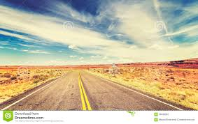 retro vintage old film style endless country highway stock photo