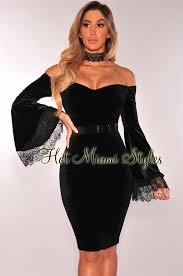 black velvet off shoulder lace bell sleeves dress