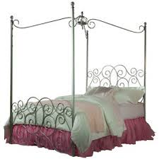full metal canopy bed with clear post finials by standard