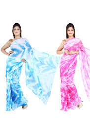 pink colour combination dresses of 2 chiffon casual wear saree in blue and pink colour