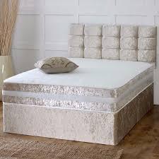 4ft bed crushed velvet divan bed memory mattress headboard 3ft 4ft
