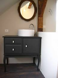 Black Powder Rooms Contemporary Black Bathroom Vanity Plus Washbowl Feat Arch Faucet