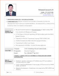 Sample Resumes For Mechanical Engineers by Sample Resume Of An Electrical Engineer Free Resume Example And