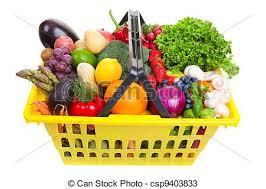 fruit and vegetable basket fruit and vegetables basket yellow shopping basket of
