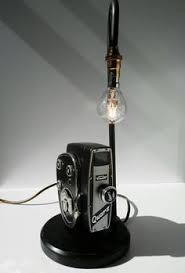 Table Lamp Brass Bulb Holder Handmade Retro Vintage Light Blue Hair Dryer Desk Table Lamp