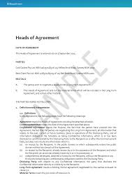 Agreement Templates Free Word S Heads Of Agreement Docustream