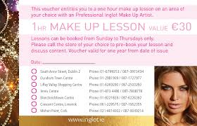 makeup classes for teenagers inglot cosmetics ireland 1 hour makeup lesson vouchers