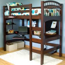 bedroom brown wooden walmart loft bed with desk and shelf for