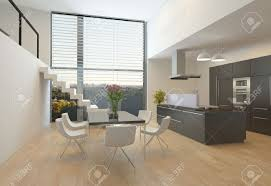 modern kitchen interior with a central hob wall units dining
