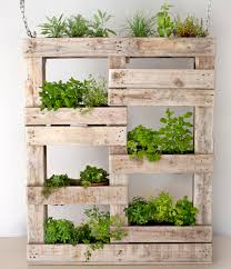 vertical hanging herb garden made from reclaimed wood http
