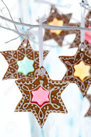 stained glass window gingerbread cookies for christmas stock photo