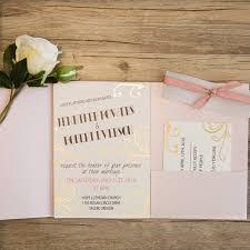 pocket wedding invites pink fold pocket wedding invitations with gold patterns ewpi208 as