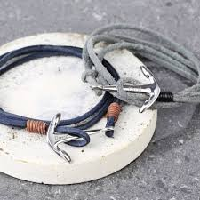 bracelet with anchor images Men 39 s grey cord wrap bracelet with anchor clasp charm by lisa jpg